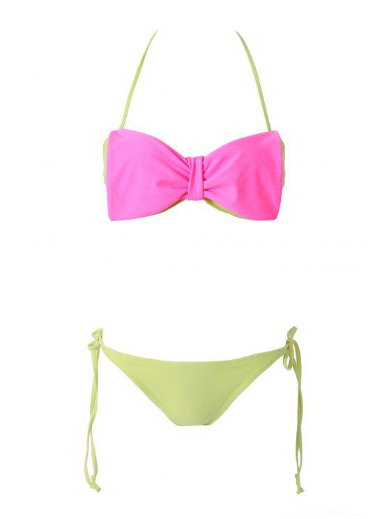 new Bowknot Strapless Color Block Bikini Set - RED AND GREEN S