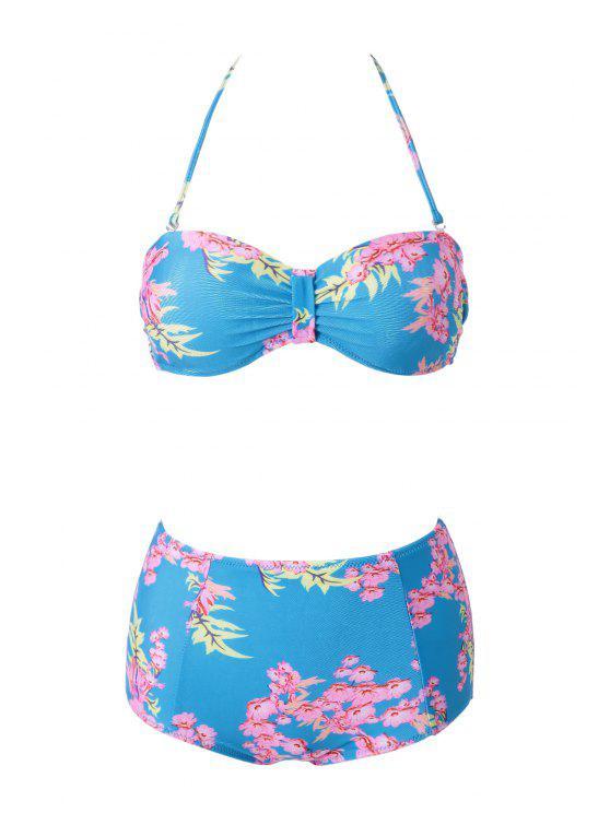 affordable Floral Print Bikini - COLORMIX XL