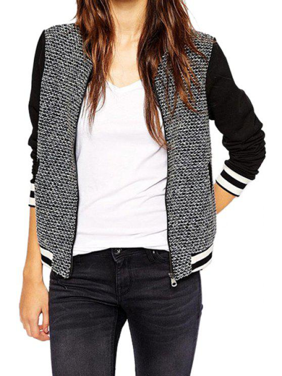 women Color Block Stand Neck Knit Jacket - WHITE AND BLACK XS