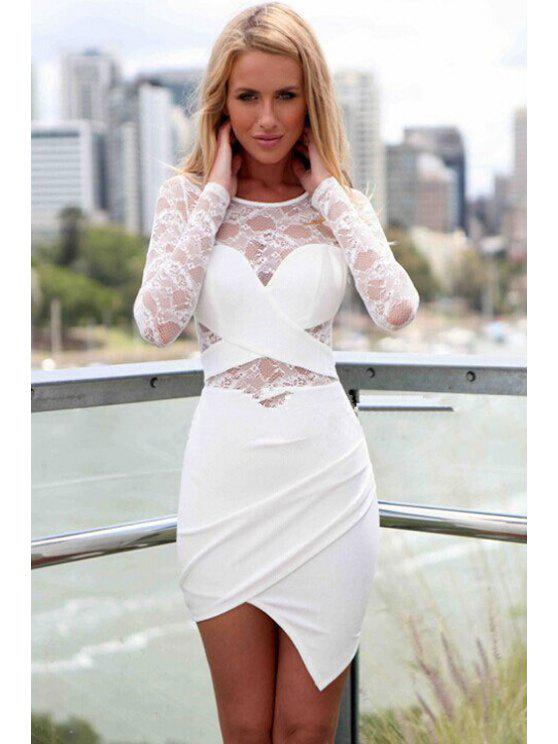 sale Lace Splicing Asymmetrical Long Sleeve Dress - WHITE S