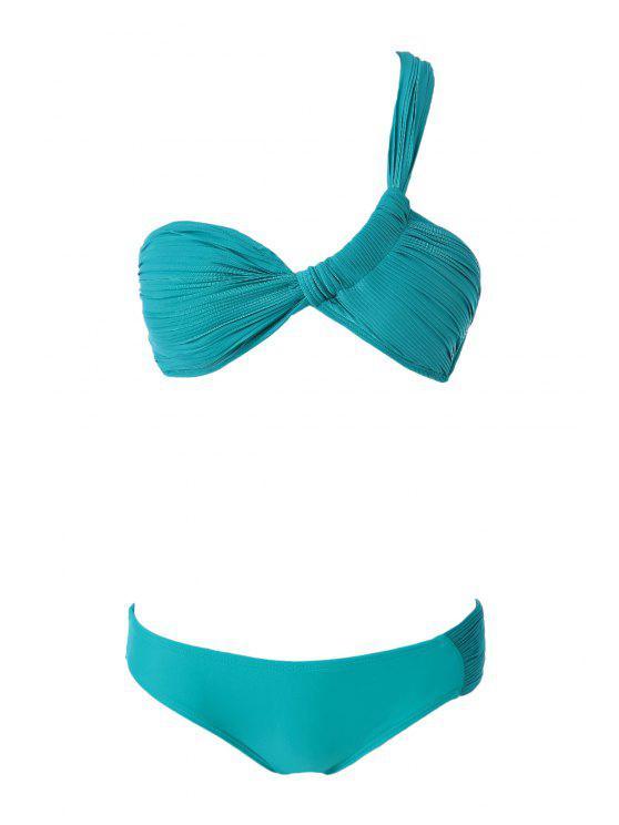 shops One-Shoulder Ruffle Bikini Set - TURQUOISE S
