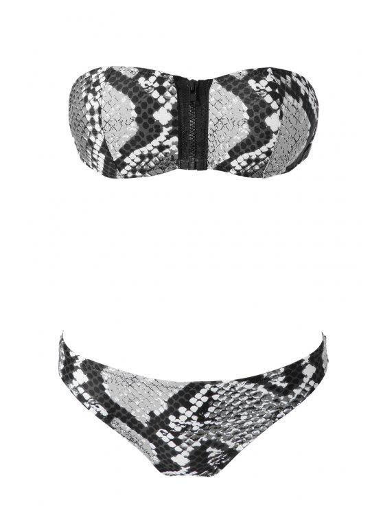 fancy Snake Pattern Strapless Bikini Set - BLACK AND GREY M