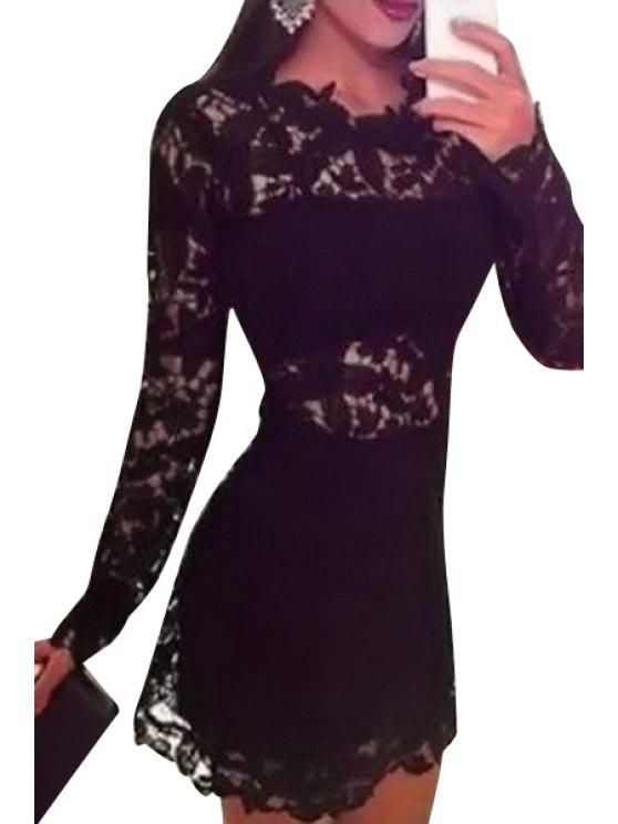 ladies See-Through Lace Long Sleeve Dress - BLACK S