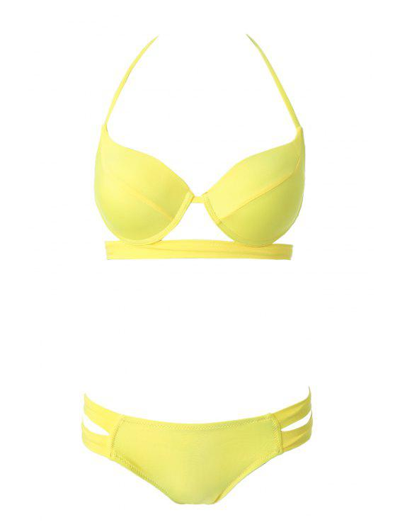 new Bandage Splicing Bikini Set - YELLOW M