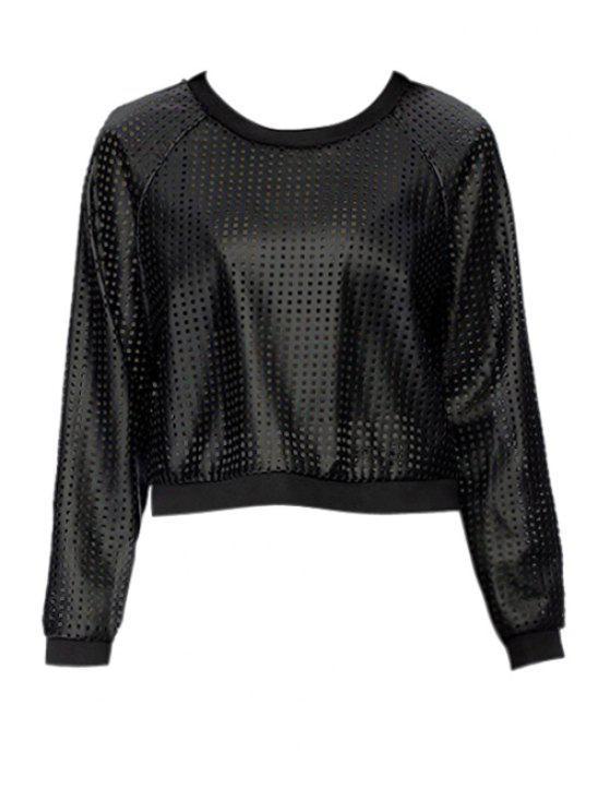 womens Hollow PU Leather Sweatshirt - BLACK XS