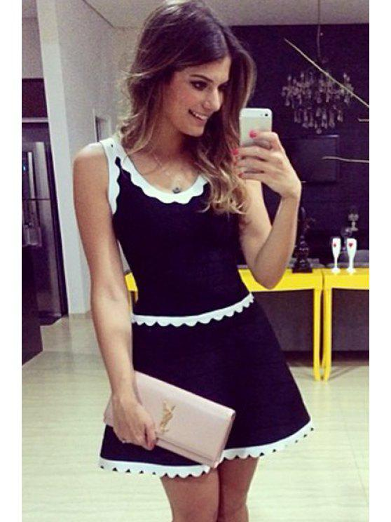 sale White Lace Splicing Sleeveless Dress - BLACK M