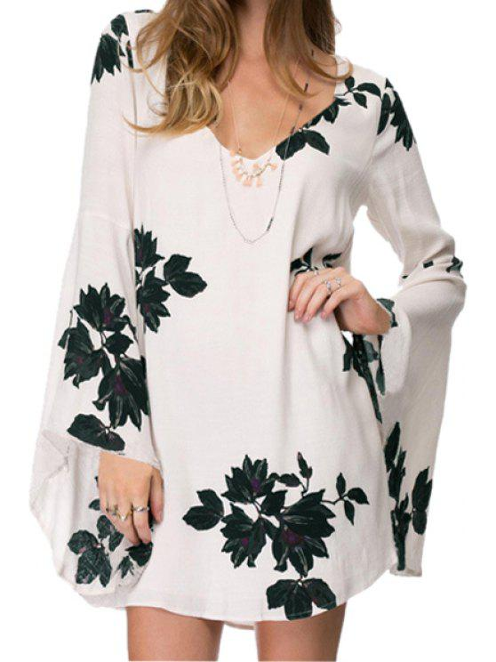 lady Floral Print Flare Sleeves Dress - WHITE AND BLACK XS