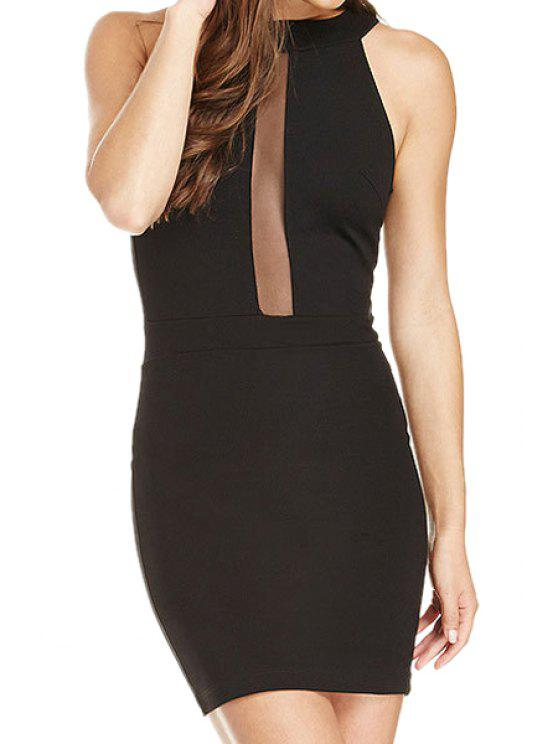 new Sleeveless Voile Spliced Bodycon Dress - BLACK XS