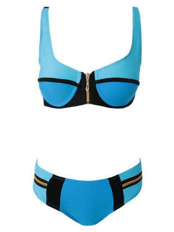 fashion Color Block Zipper Bikini Set - BLUE S