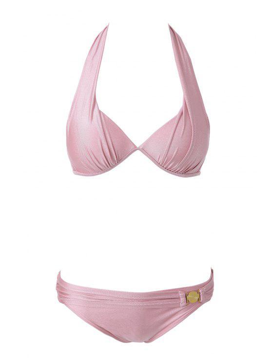 unique Pink Halterneck Bikini Set - PINK M