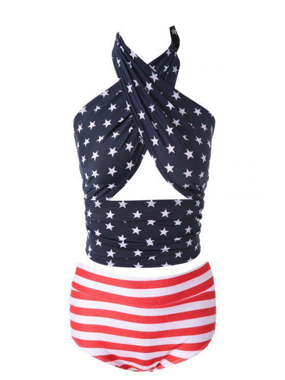 women's Star and Striped Print Bikini Set - 17# M