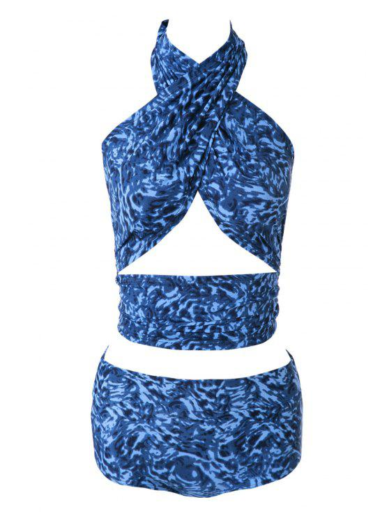 hot Blue Print High Waisted Bikini Set - 18# M