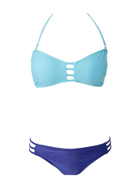 Bikini femme sexy à color block avec bandes ciselées - Vert S
