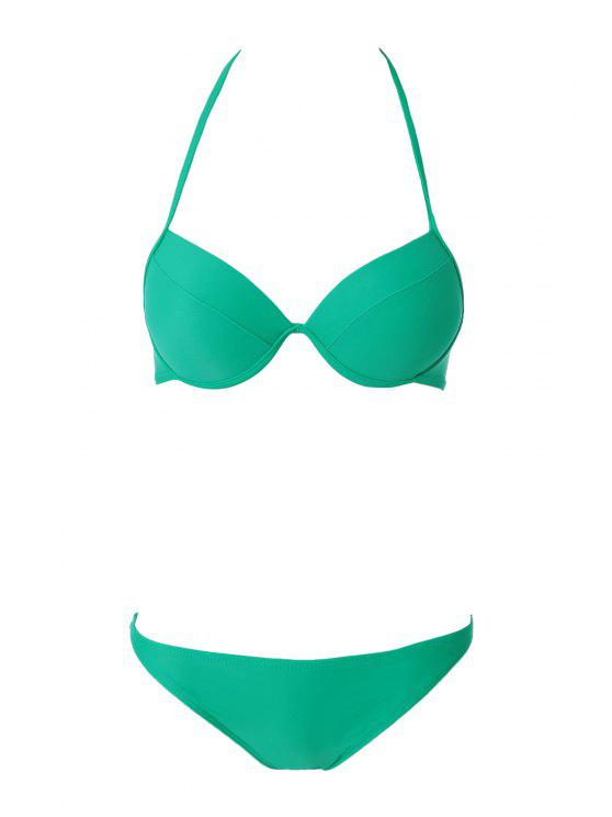 fancy Solid Color Halter Push-Up Bikini Set - GREEN S
