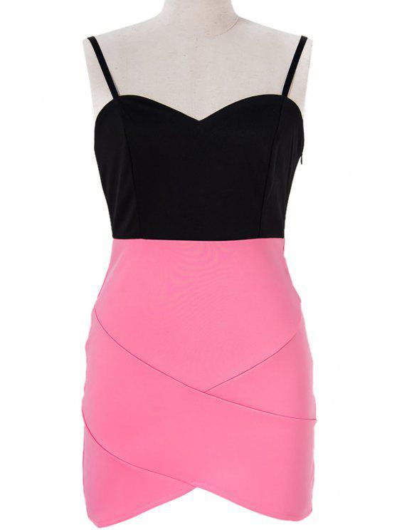 sale Color Block Spaghetti Straps Bodycon Dress - BLACK AND PINK S