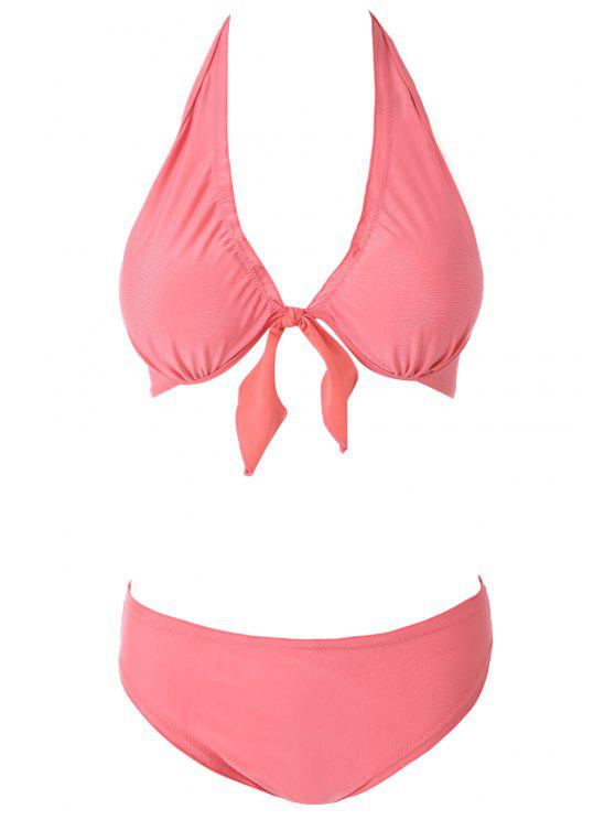 online Solid Color Ruffled Bikini Set - WATERMELON RED S