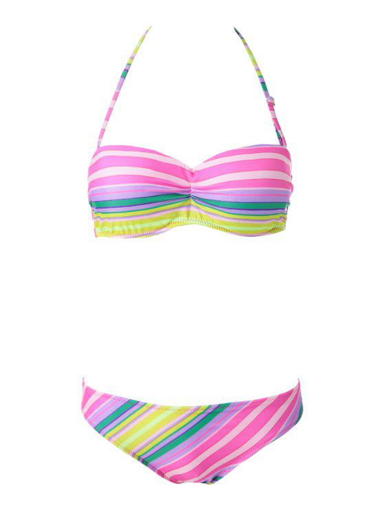 buy Colorful Striped Strapless Bikini Set - STRIPE L