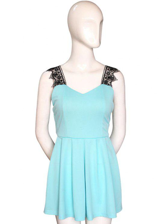 hot V-Neck Lace Splicing Backless Dress - LIGHT BLUE S