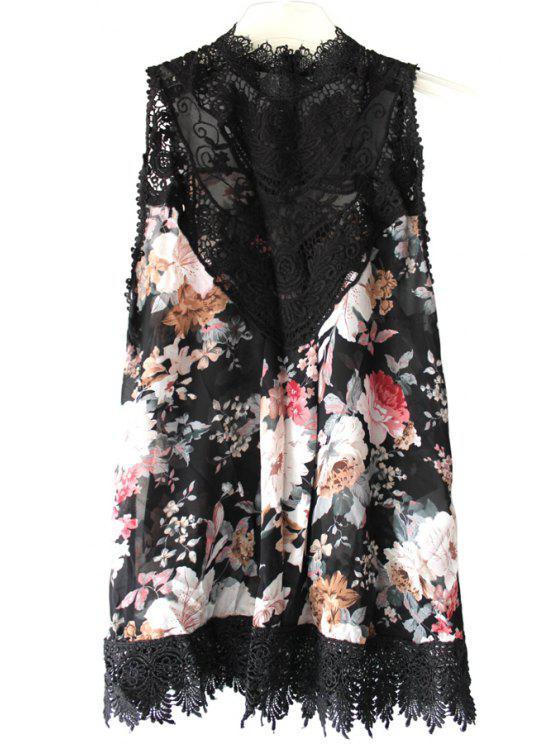 chic Floral Print Spliced Crochet Flower Tank Top - BLACK S