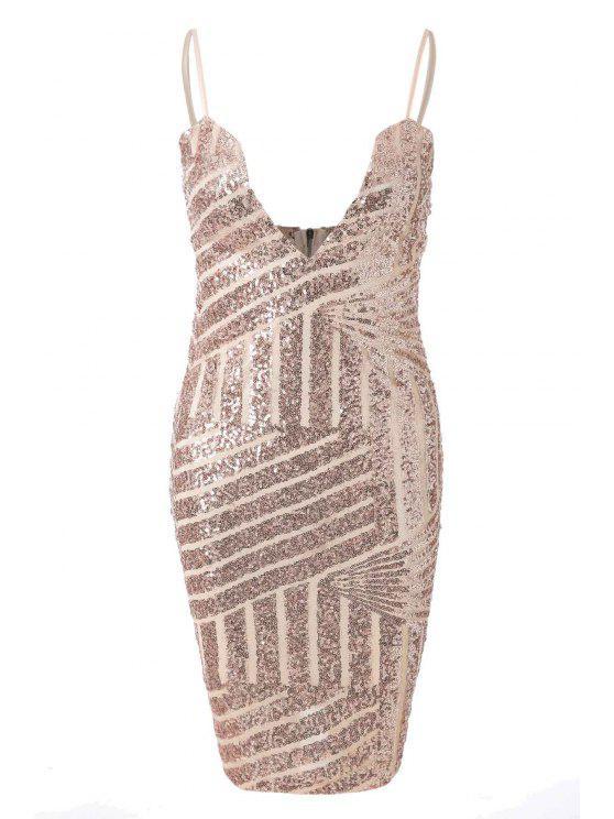 latest Spaghetti Strap Sequin Sleeveless Dress - GOLDEN S
