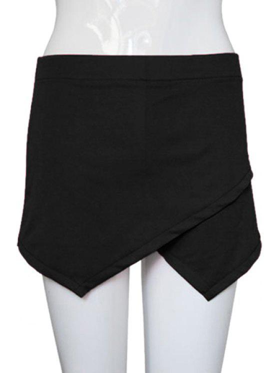 women Cross Solid Color Asymmetrical Culottes - BLACK S