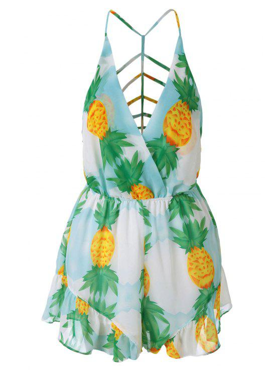 chic Pineapple Print Backless Romper - GREEN S