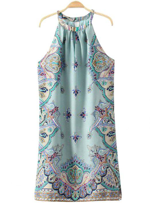 outfits Jewel Neck Paisley Print Sleeveless Dress - TURQUOISE S