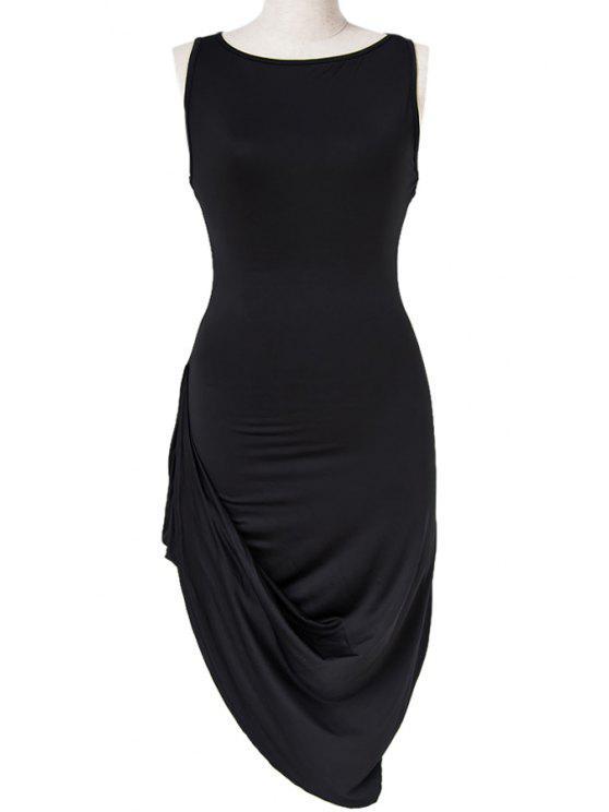 buy Black Irregular Hem Sleeveless Dress - BLACK S