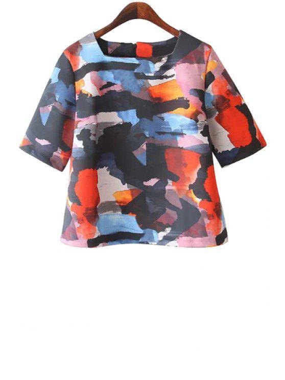 online Square Neck Color Block Print T-Shirt - COLORMIX S