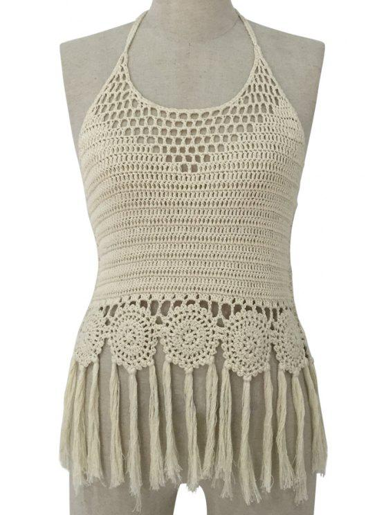affordable Halter Crochet Tassels Tank Top - OFF-WHITE ONE SIZE(FIT SIZE XS TO M)