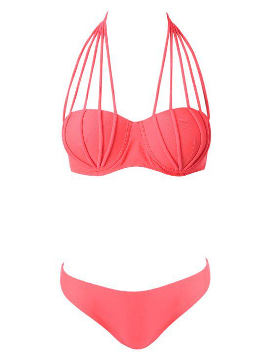 womens Halter Neck Solid Color Tie-Up Bikini - PINK S