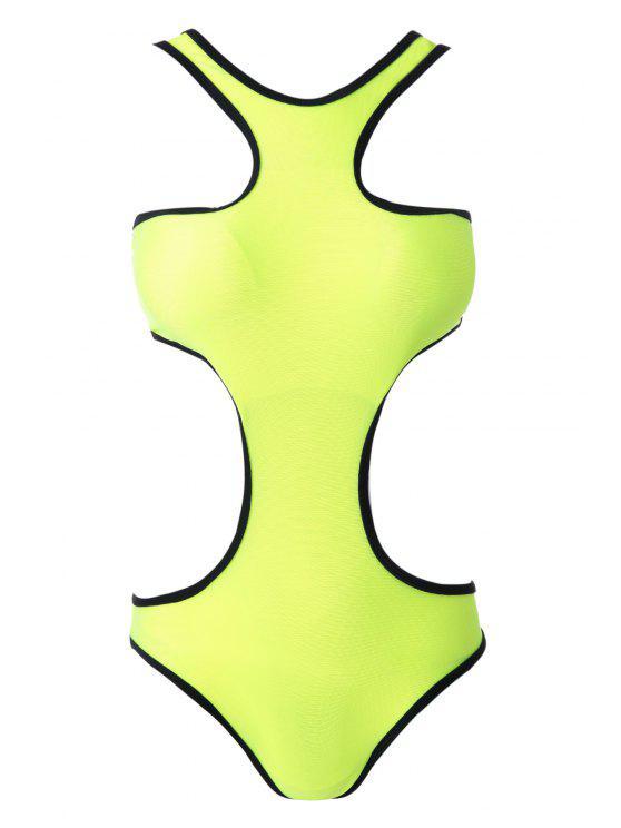 online Color Block One-Piece Swimwear - GREEN S