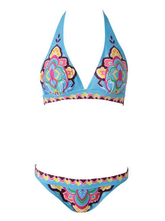 Ethnic Print Halterneck Bikini Set - Azul S