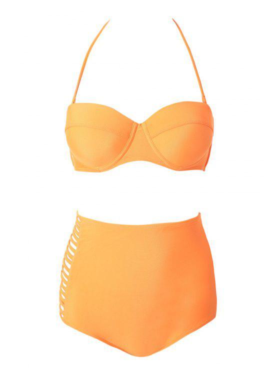 fashion Strapless Solid Color Bikini Set - ORANGE L