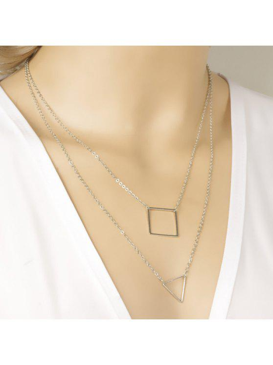 trendy Chic Openwork Geometric Shape Layered Link Design Necklace For Women - SILVER