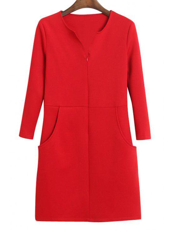 latest Solid Color Pocket Slit Long Sleeve Dress - RED S