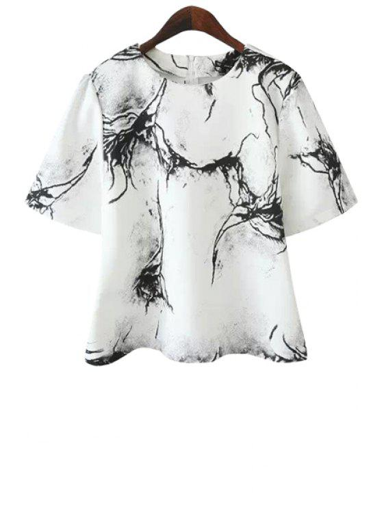 outfits Black Print Short Sleeve T-Shirt - WHITE S