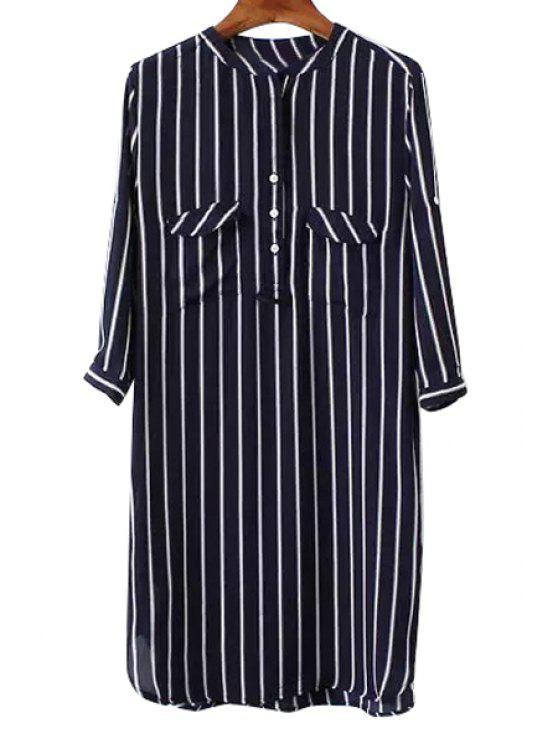 shops Stripe Pocket Half Sleeve Dress - BLUE AND WHITE S