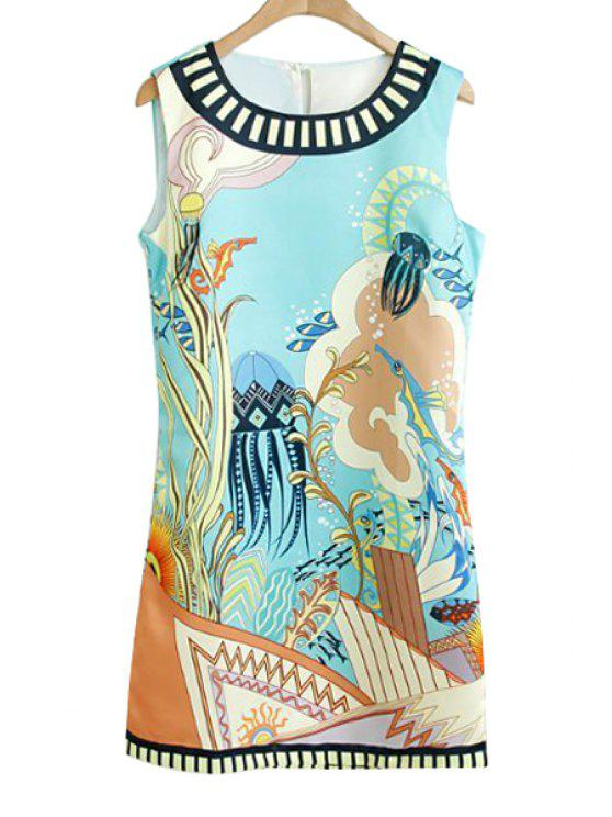 shops Fish Plant Print Sleeveless Dress - WHITE M