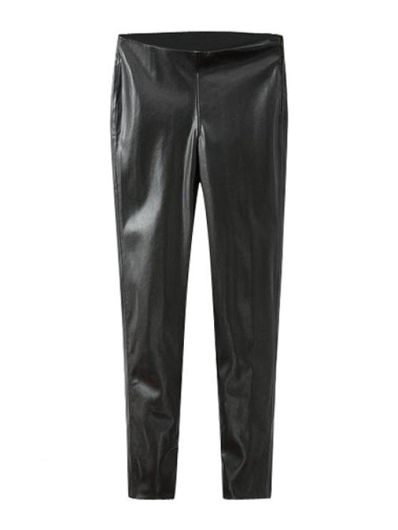 fashion Solid Color PU Leather Fitted Pants - BLACK S