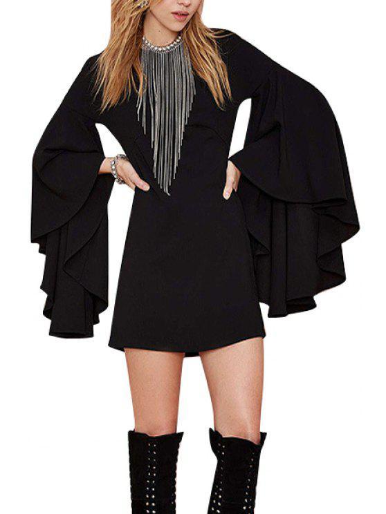 new Black Long Flare Sleeve Dress - BLACK XL