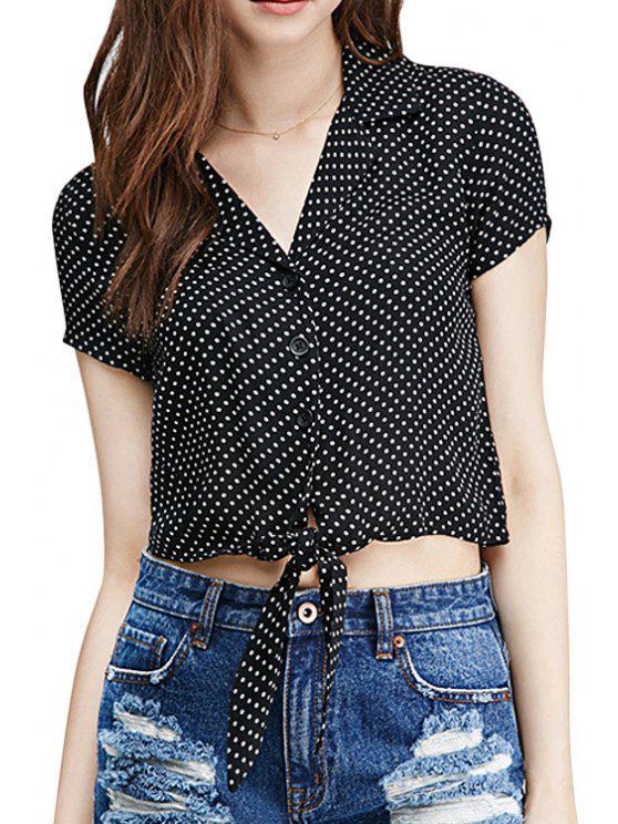buy Polka Dot Self-Tie Short Sleeve Shirt - BLACK XS