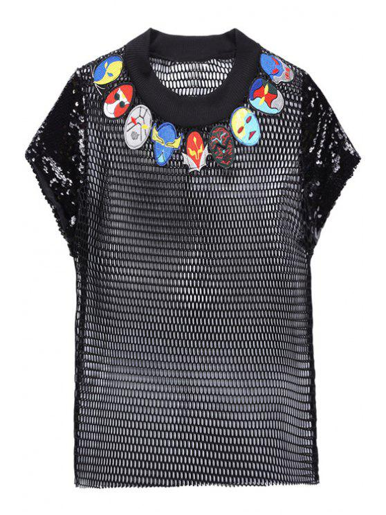 fashion Mask Pattern Mesh Sequins See-Through T-Shirt - BLACK ONE SIZE(FIT SIZE XS TO M)