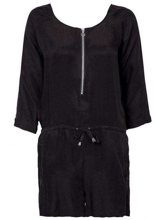 outfits Black Zipper 3/4 Sleeve Romper - BLACK XS