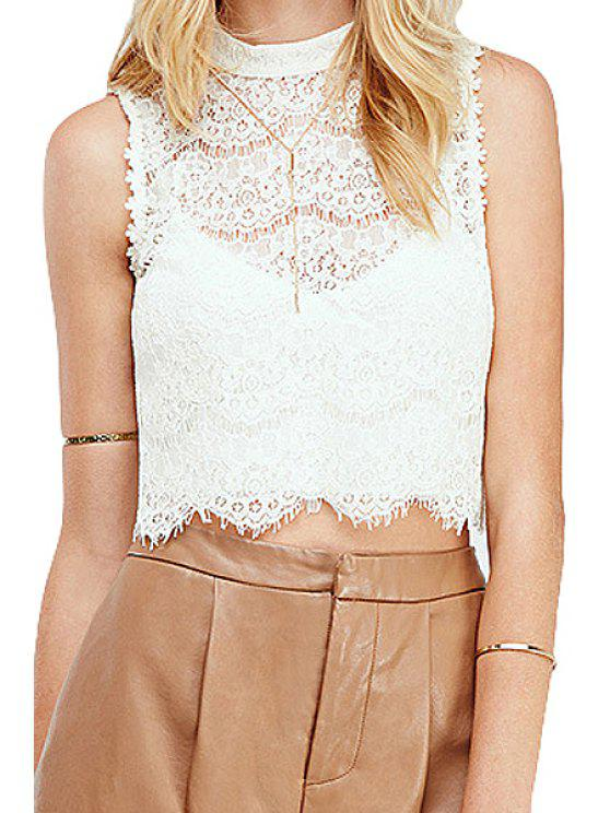 sale Lace Sleeveless Crop Top - WHITE XS