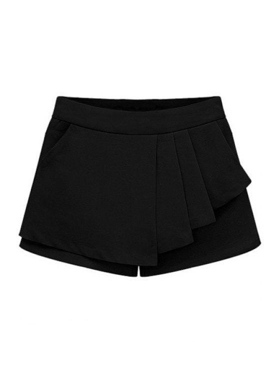 women's Solid Color Flounce Splicing Shorts - BLACK S