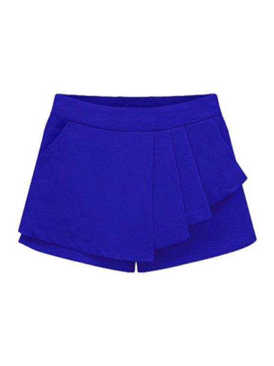 women Solid Color Flounce Splicing Shorts - SAPPHIRE BLUE M