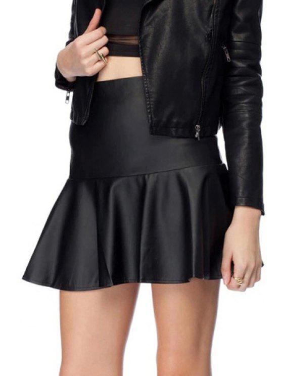 fancy PU Leather Ruffles Spliced Skirt - BLACK XS