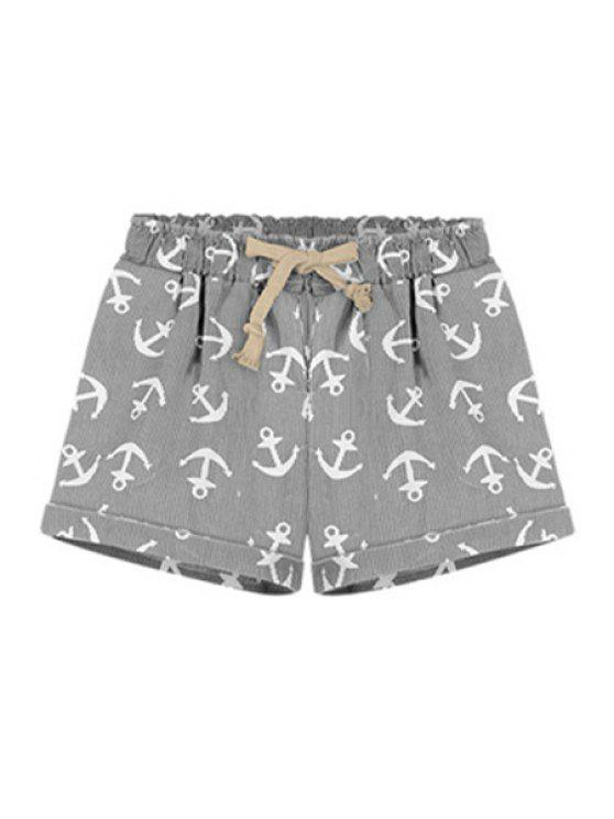 outfit Boat Anchor Print Tie-Up Shorts - GRAY S
