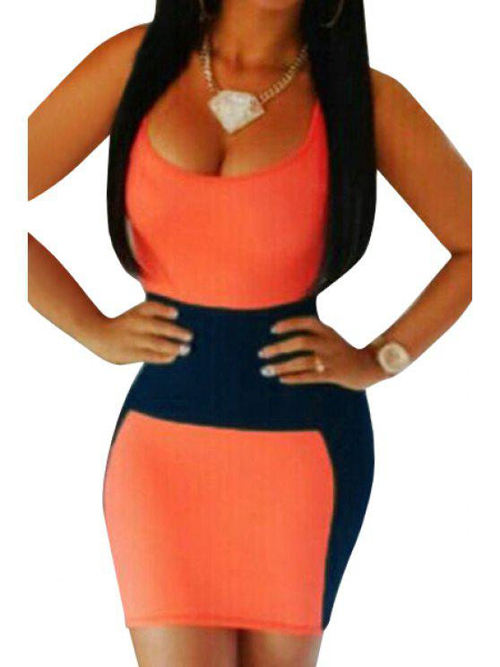 online Color Block Bodycon Sundress - DEEP BLUE S
